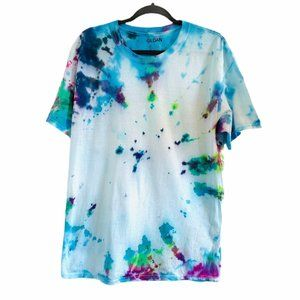 Gildan Tie Dye Blue Green Pink T-shirt Large